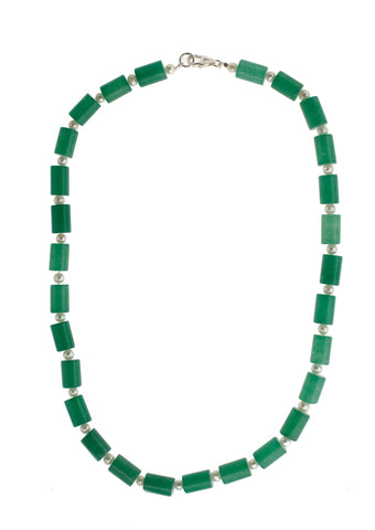 Barrel Aventurine & Pearls Necklace