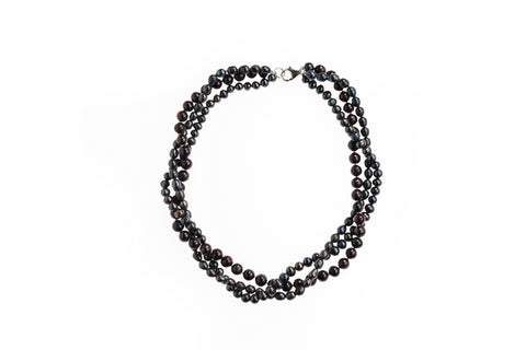 Pearl Twisted 3 Strand Black Necklace