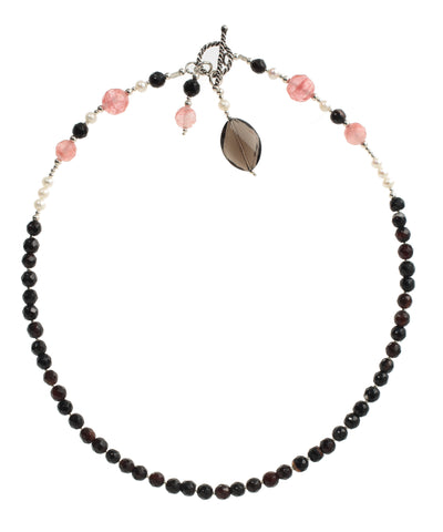 Pink & Black Agate & White Pearl Necklace