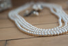 Four Strand Stayed White Pearl Necklace