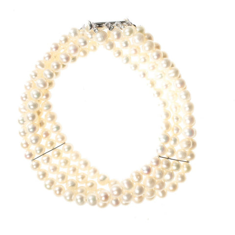 Four Strand Stayed White Pearl Bracelet