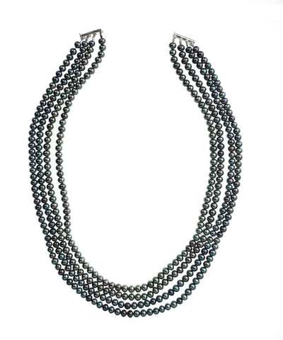 Four Strand Stayed Black Pearl Necklace