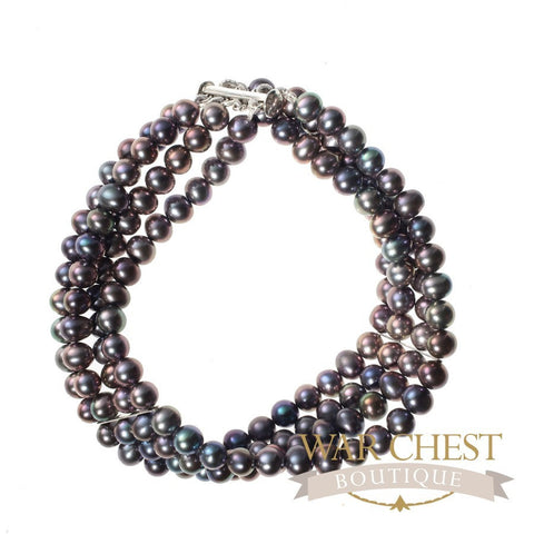Four Strand Stayed Black Pearl Bracelet