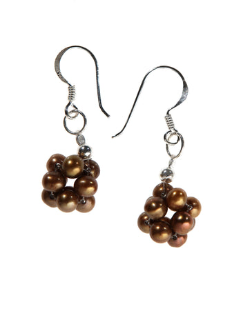 Brown Pearl Bundle Ball Earrings