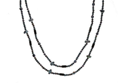 Black Pearl & Agate Necklace
