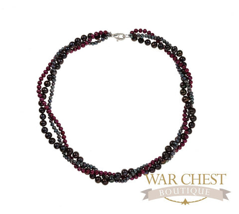Black, Gray & Magenta Necklace