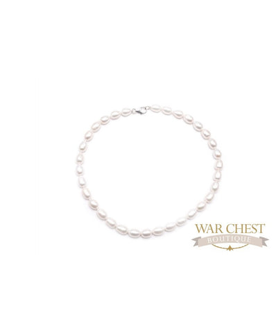 White Oval Pearl Necklace