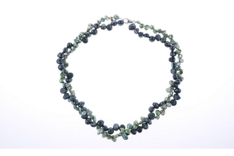 Green Pearl Two Tone Necklace
