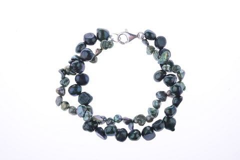 Green Pearl Two-Tone Bracelet