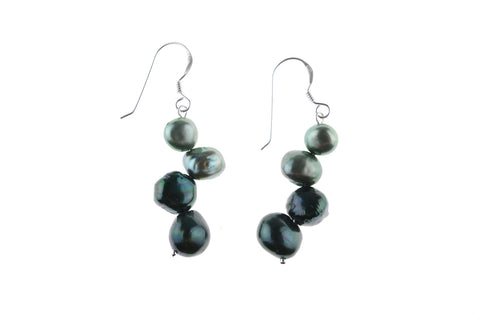 Green Pearl Two-Tone Earrings