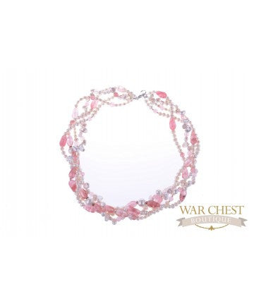 White Pearl & Kunzite Necklace