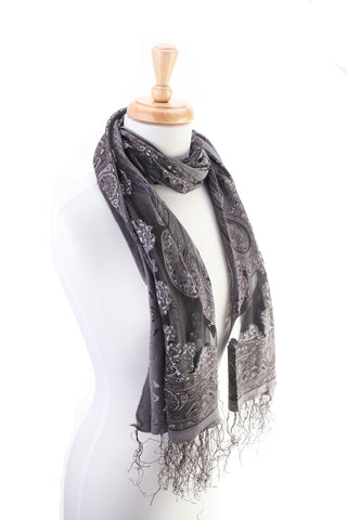 Sheer Silky Scarf Grey