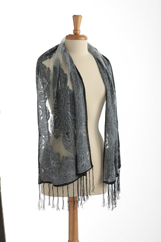 Sheer Silky Scarf blk/white