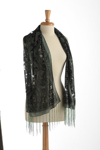 Sparkle Sheer Scarf in Green for Women - Accessories - WAR Chest Boutique