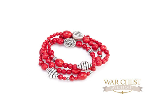 Red Howlite & Rhodium Bracelet