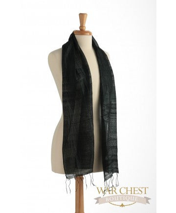 Thai Silk Black Scarf