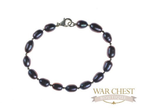 Purple Pearl Silver Ball Bracelet