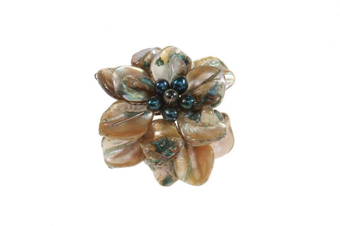 Shell & Pearl Flower Brooch in Green for Women - Accessories - WAR Chest Boutique