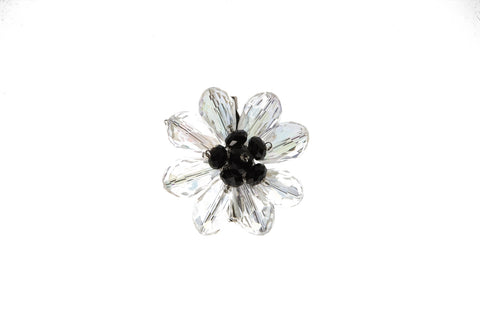 Flower Brooch Black Center
