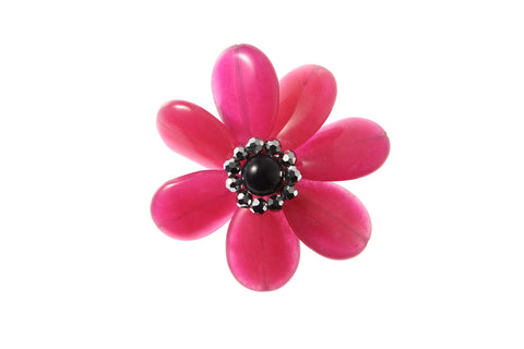 Flower Brooch Pink & Black