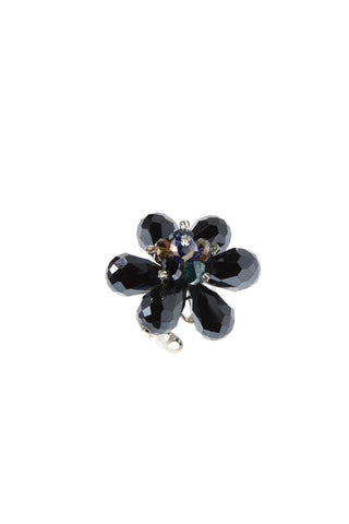 Navy Flower Mixed Color Crystal Center Ring