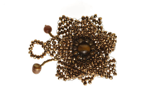 Beaded Brooch Gold Bronze