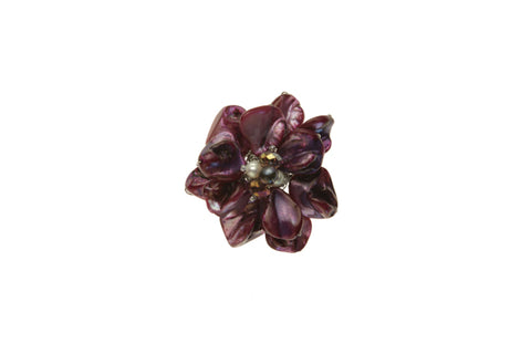 Shell & Pearl Flower Purple Brooch