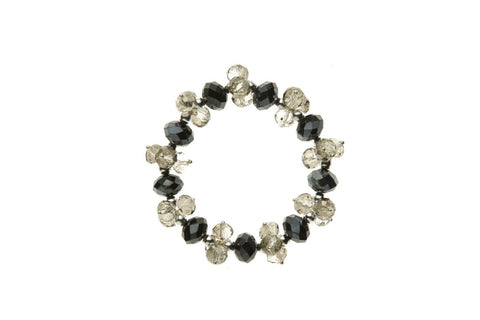 Clear & Black Metallic Crystal Bracelet