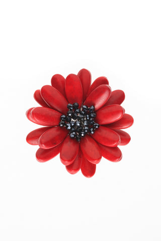 Red Howlite & Hematite Brooch