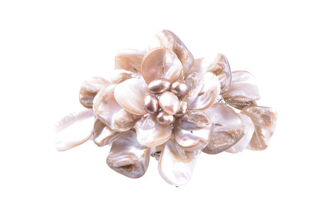 Shell Large Brooch Cream Brown