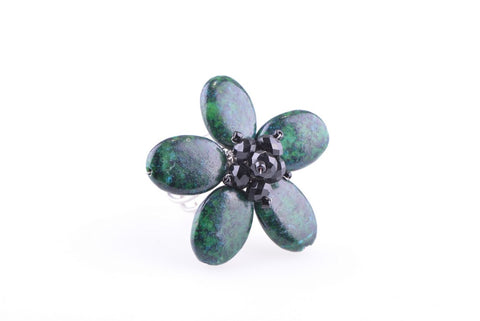 Azurite Malachite Flower Ring