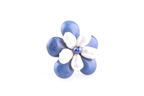 Pearl & Blue Stone Flower Ring