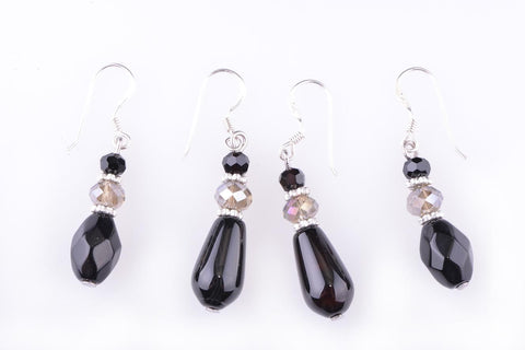 Black Agate Crystal Earrings
