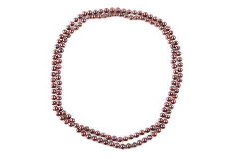 Long Burgundy Pearl Necklace