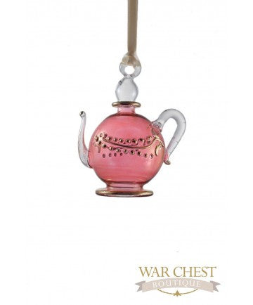 Teapot Glass Ornament Red