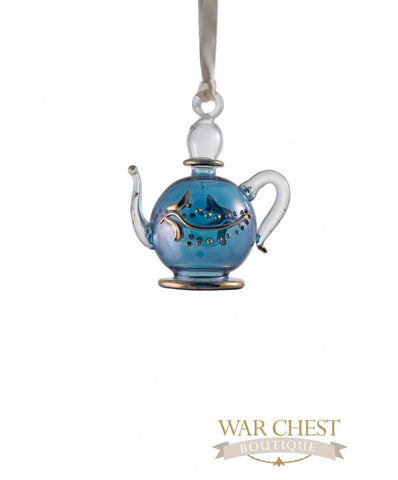 Teapot Glass Ornament Blue
