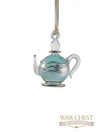 Teapot Glass Ornament Green
