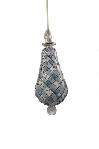 Beribboned Pear Ornament Blue
