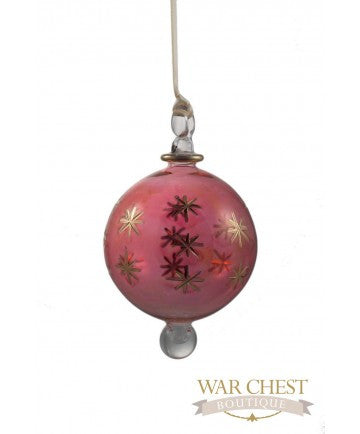 Star Ball Glass Ornament Red