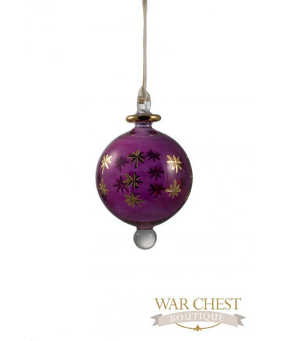 Star Ball Glass Ornament Purple