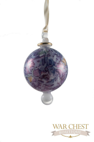 Painted Ball Glass Ornament Blue