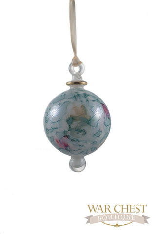 Painted Ball Glass Ornament Green