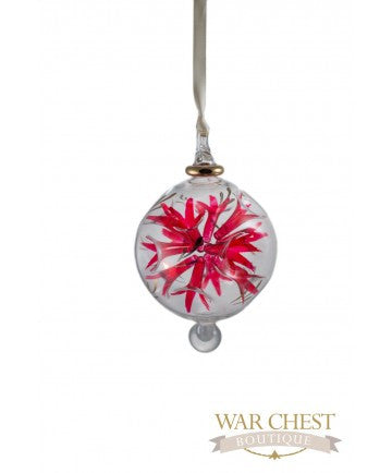 Spray Flower Glass Ornament Red