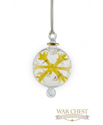 Spray Flower Glass Ornament Yellow