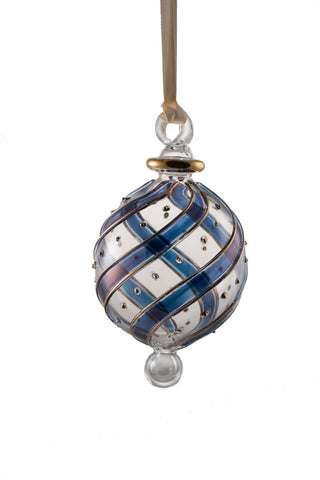 Beribboned Dot Ball Ornament Blue