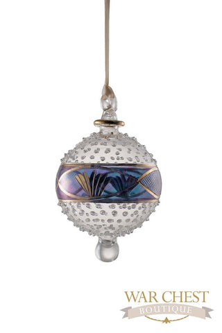 Center Band Ball Glass Ornament Blue - Ornaments - WAR Chest Boutique