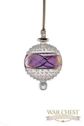 Center Band Ball Glass Ornament Purple - Ornaments - WAR Chest Boutique