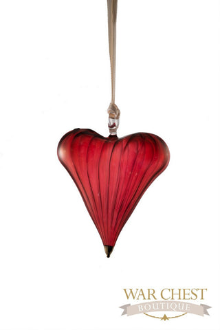 Glass Heart Glass Ornament Red - Ornaments - WAR Chest Boutique