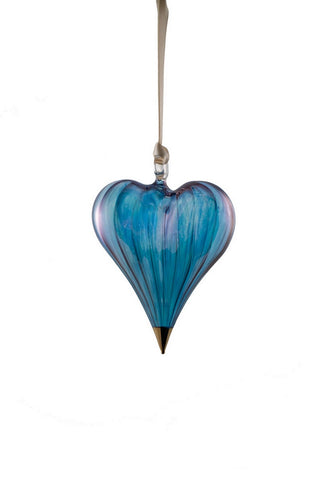 Glass Heart Ornament Blue - Ornaments - WAR Chest Boutique