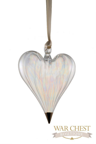 Glass Heart Glass Ornament Clear - Ornaments - WAR Chest Boutique